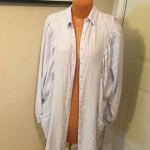 Free People Long light blue satin button up